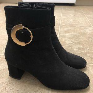 Zara split heeled suede ankle boots